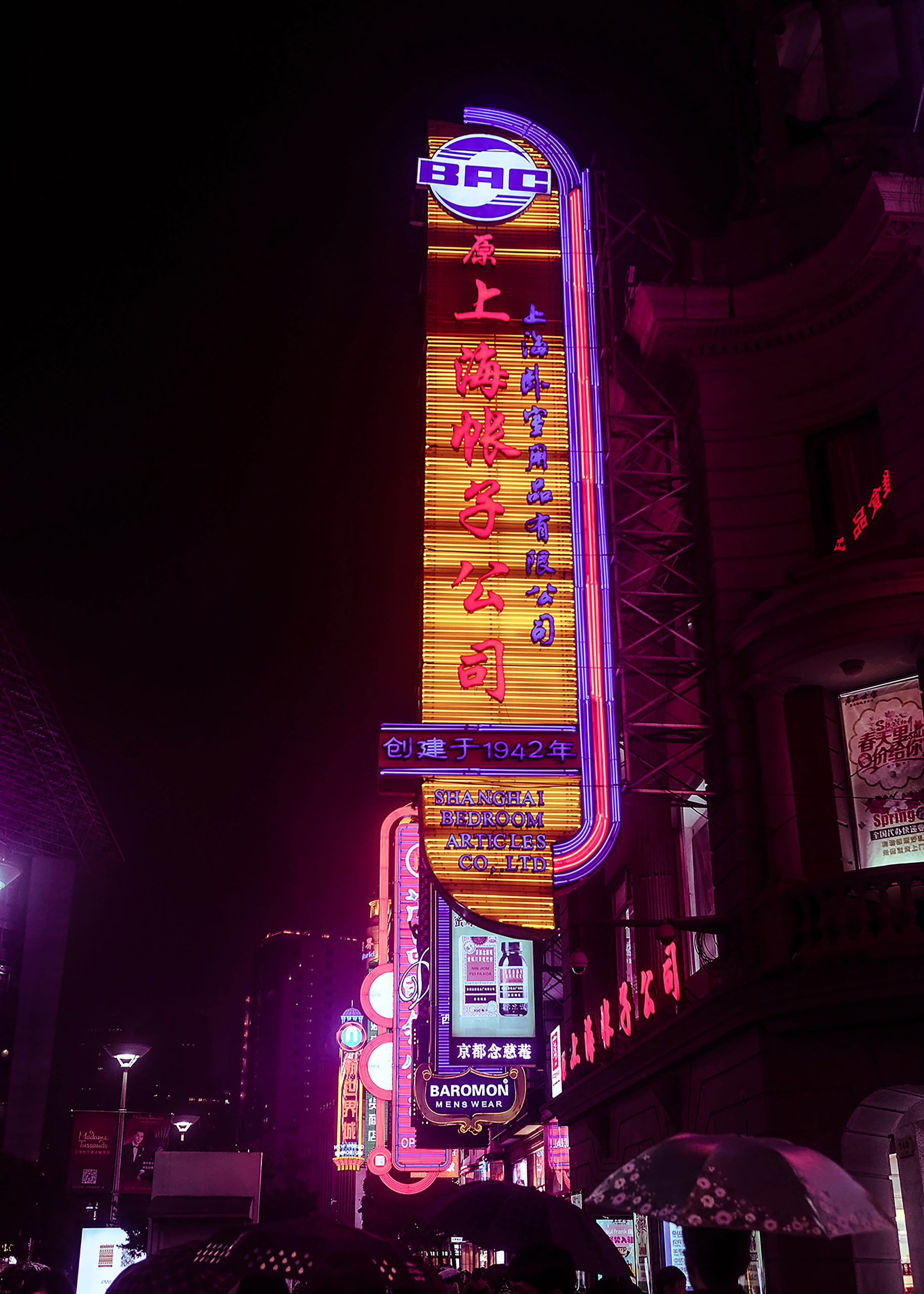 elisabetta riccio - neon signs of stores in shanghai city