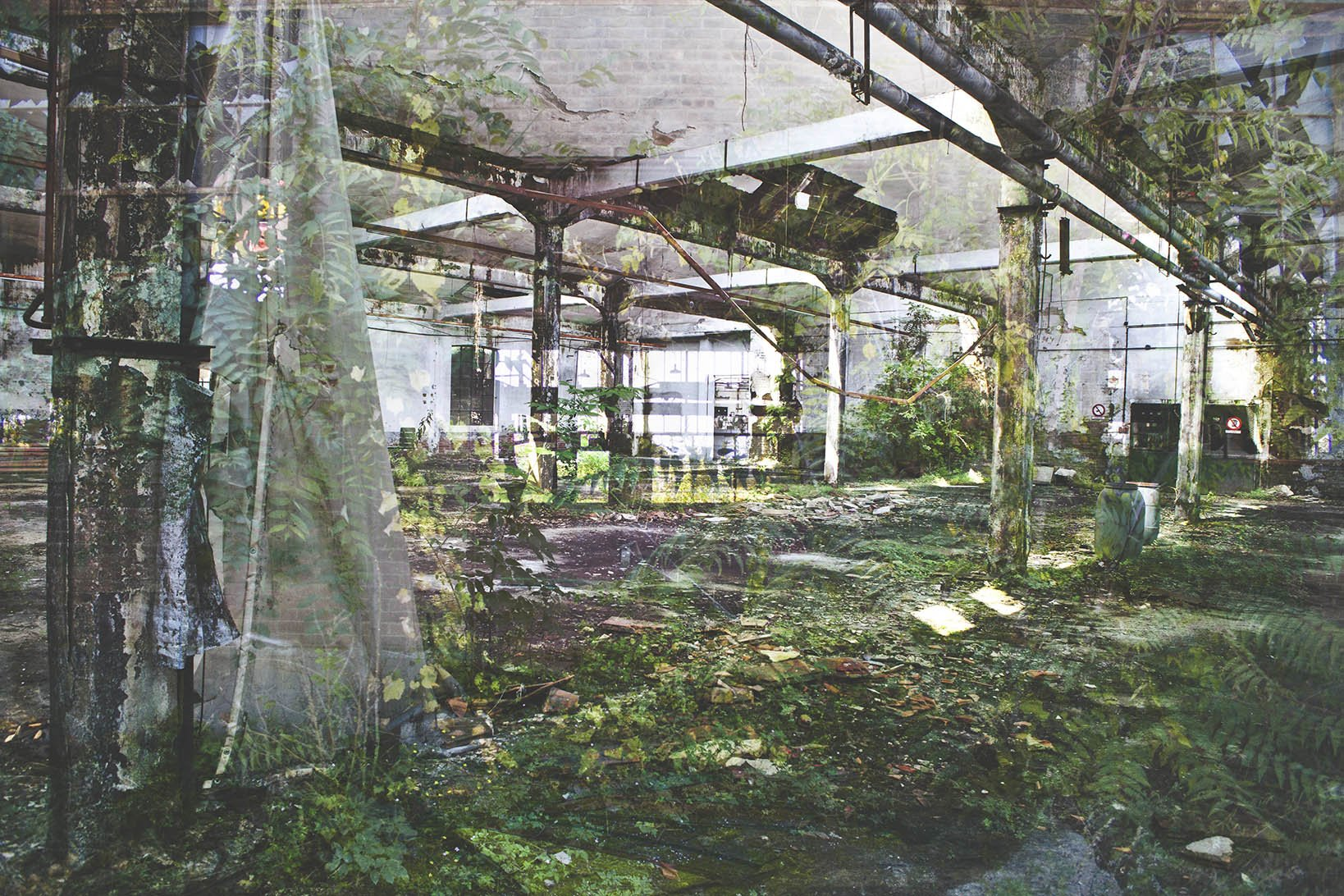 elisabetta riccio - double exposure of the restitution project where you can see AN OLD FACTORY abandoned in Piedmont, Italy, once a producer of cotton handkerchiefs