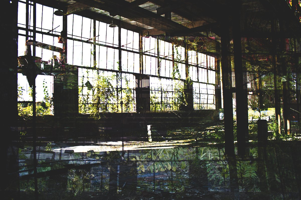 elisabetta riccio - double exposure of the restitution project where you can see an abandoned railway depot on the rotai that line the city of troy, NY