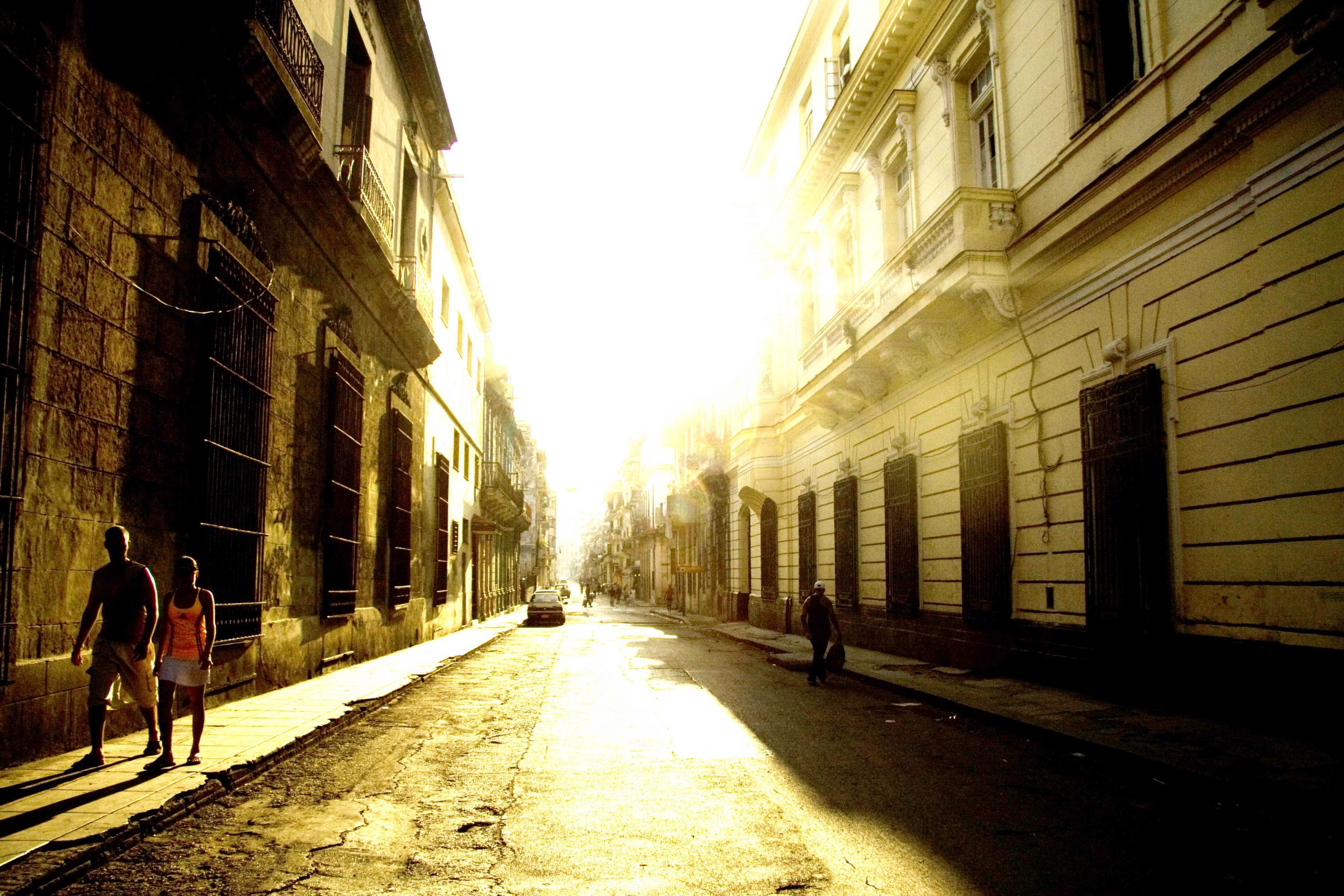 the streets of Havana during the sunrise