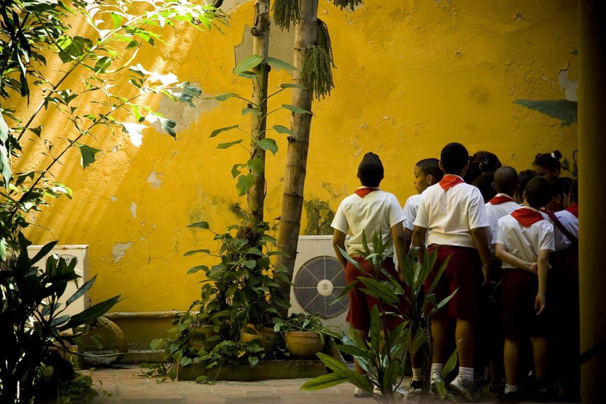 young boy after school in Havana